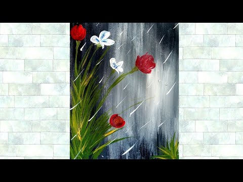 Simple and Easy Rain Flower Painting using Acrylic