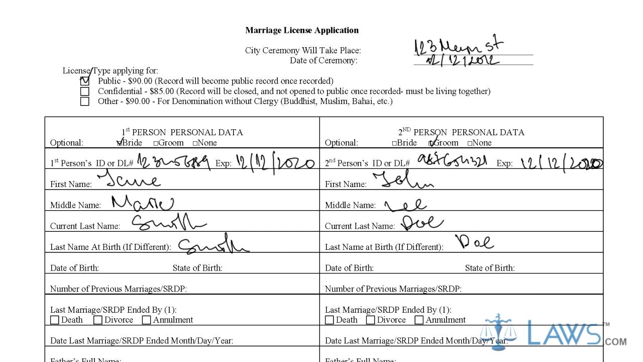 Instruction To Fill Los Angeles Marriage License Application Form