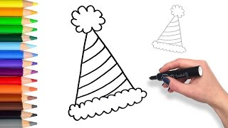 Learn How to draw Party Birthday Hat | Teach Drawing for Kids and Toddlers Coloring Page Video