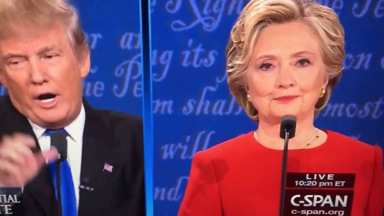 hillary clinton jim halpert s the camera during trump debate youtube