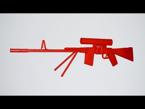 How to make a paper gun - paper sniper rifle M 76 - DIY - paper toy - origami