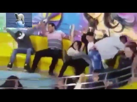 The moment a woman loses her trousers on fairground ride