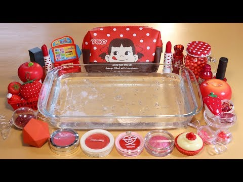 """Theme Series #21 """"REDFood"""" Mixing Makeup And glitter Into Clear Slime! """"REDFood Silme"""""""