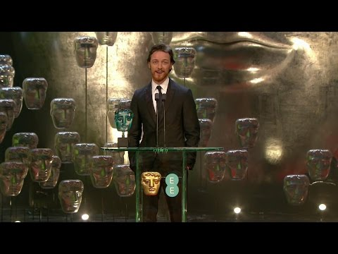 James McAvoy presenting Jack O'Connell The EE Rising Star Award at BAFTA 2015