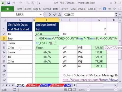Excel Magic Trick 759: Array Formula To Sort List & Remove Duplicates -  Dynamic Named Range