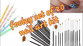 Foolzy  20 pcs nail art kit/ unboxing + review +floral nail art / nayla zehra