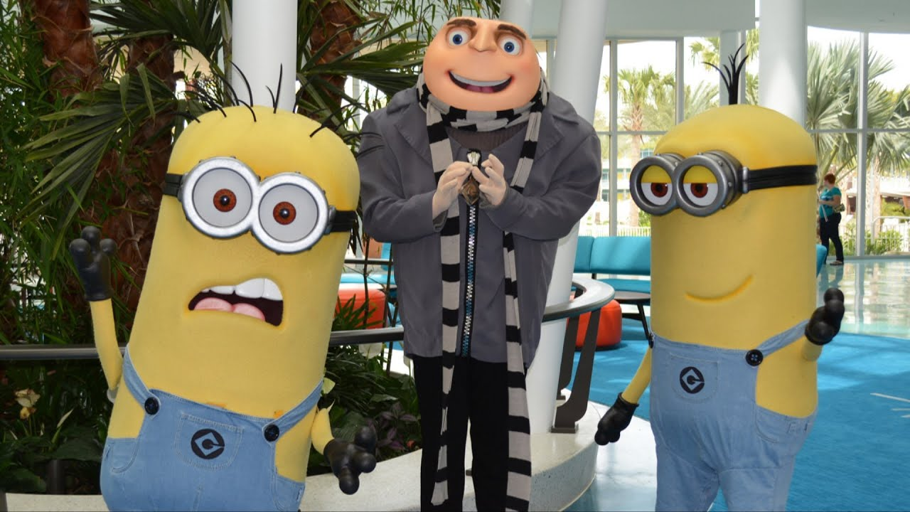 The Minions And Gru Welcome Guests On Opening Day Of Universal S Cabana Bay Beach Resort Youtube