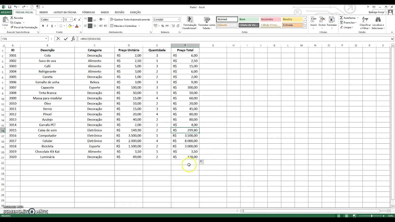 Tutorial Excel   Soma / Multiplicação / Divisão / Média