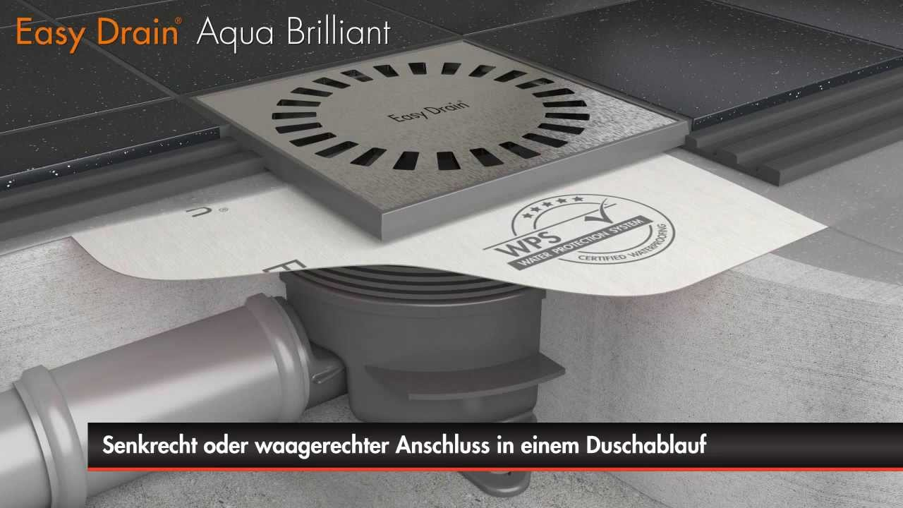 easy drain aqua brilliant bodenablauf einbau deutsch youtube. Black Bedroom Furniture Sets. Home Design Ideas
