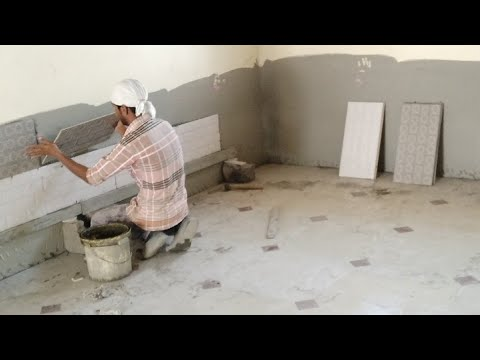 Indian Style Of Wall Tiles Fitting In Room Wall Tiles Fitting In India Tiles Masonry Work Youtube