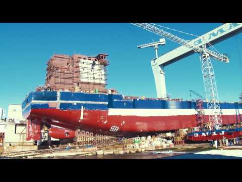Launching of the first Algoma 650ft self-unloader Great Lakes Bulk Carrier (Hull No. 732)