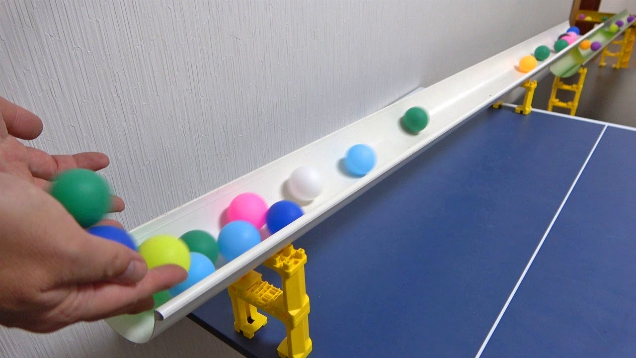 Marble Run ASMR ☆ Colorful ping-pong ball on a rain gutter course