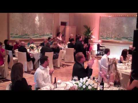 Fun Grand Entrance at small wedding reception