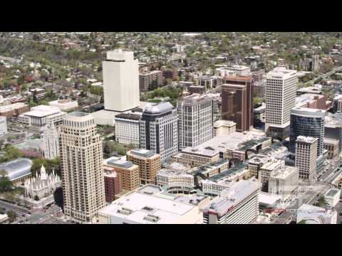 Aerial of downtown Salt Lake City, Utah in 4K Ultra HD.
