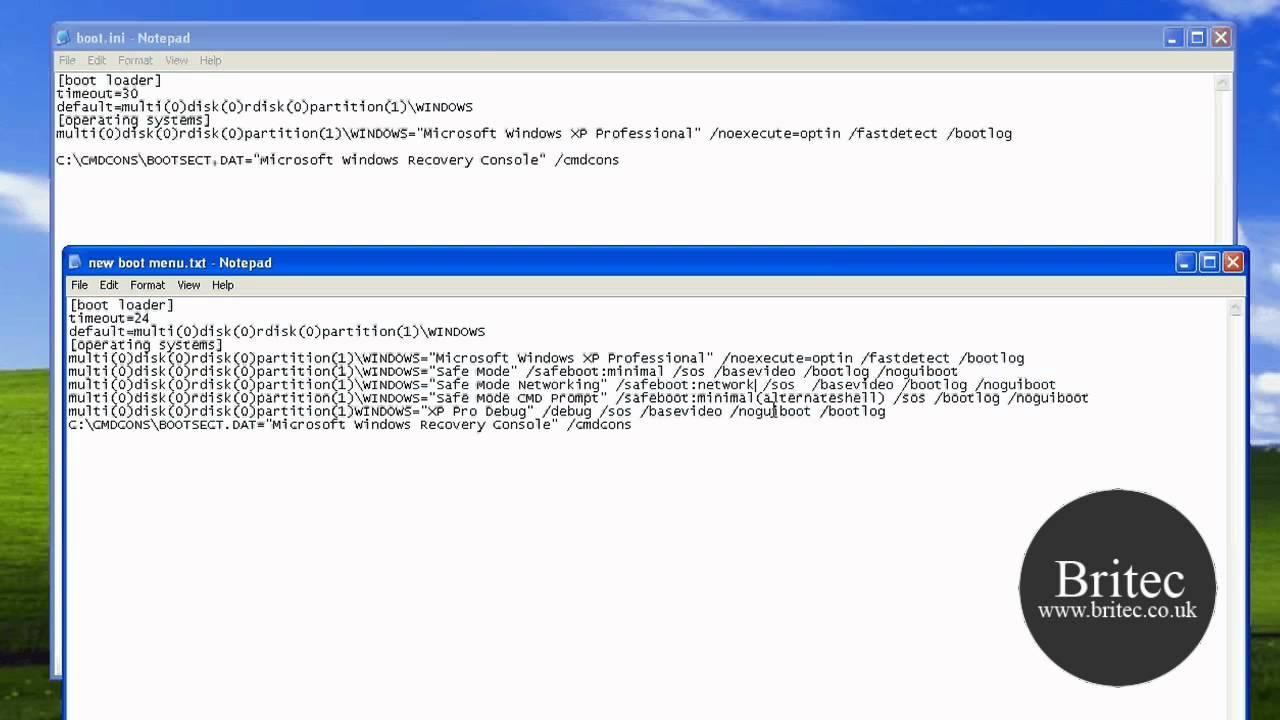 Create Custom Boot Menu in Windows XP by Britec