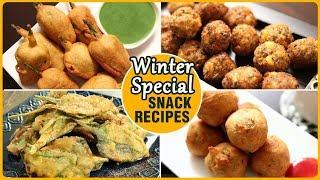 Quick & Easy Winter Snacks Recipes - Bhajiya & Pakoda/Pakora Recipes - Crispy Fritter Recipes