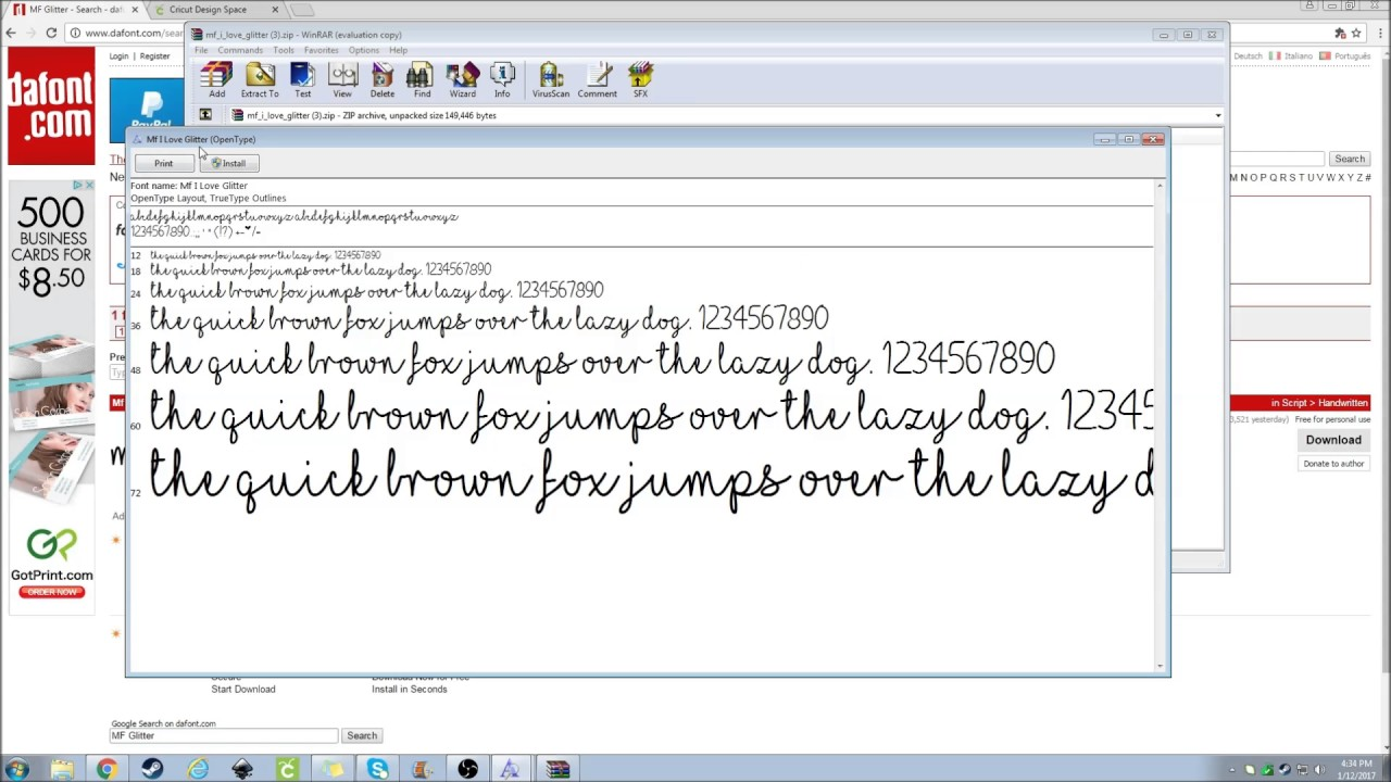 Getting a font from DaFont com to Design Space