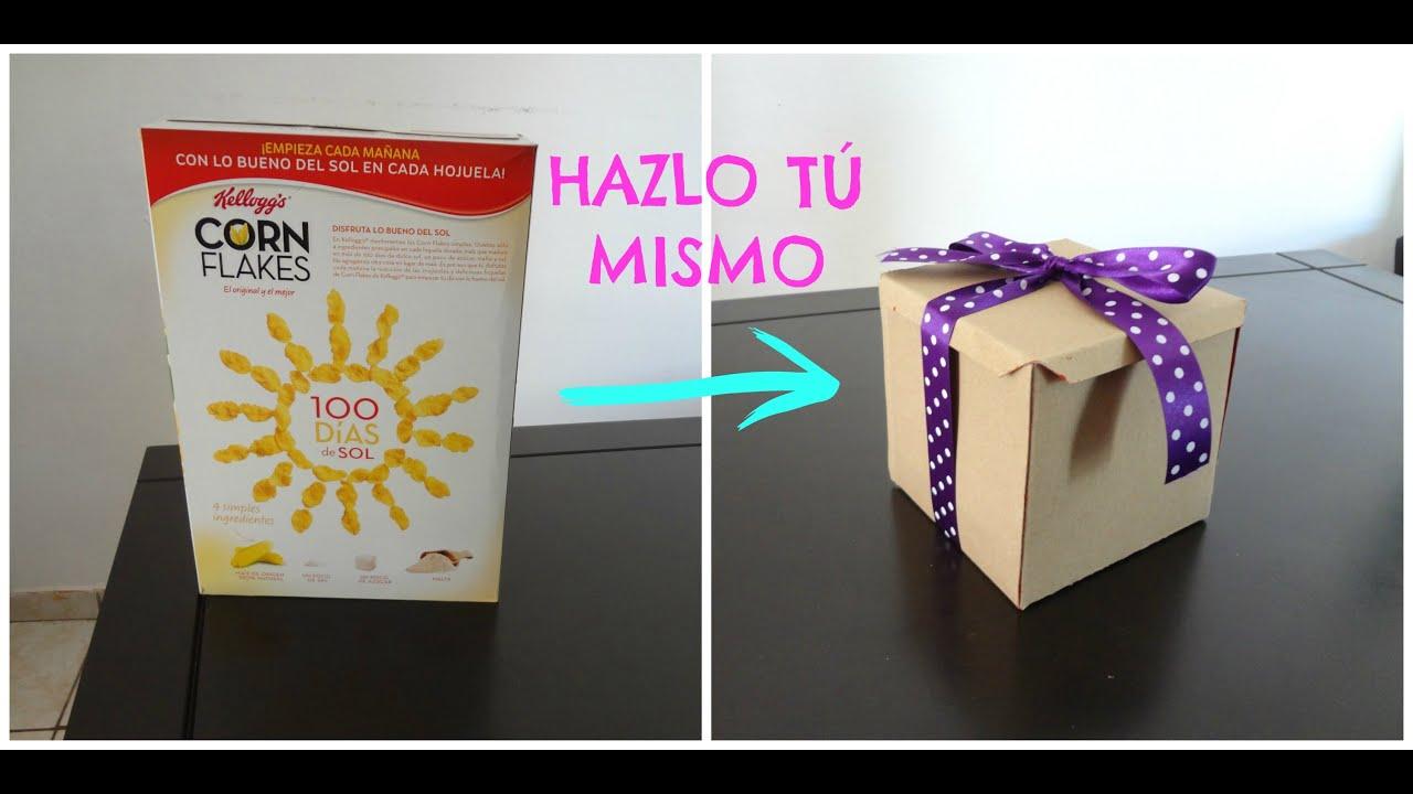 Como hacer una caja de carton de regalo con caja de cereal - Como hacer una caja ...
