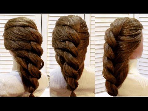 Прическа с плетением из жгута на основе гофре. Braided hairstyle