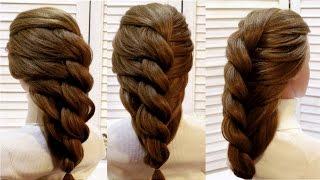 Прическа с плетением из жгута на основе гофре  Braided hairstyle