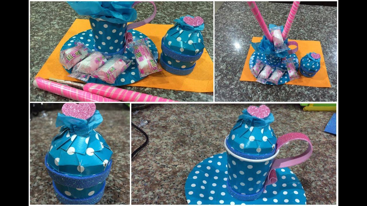 C mo hacer dulceros con vasos desechables easy gift box - Manualidades con vasos de plastico ...
