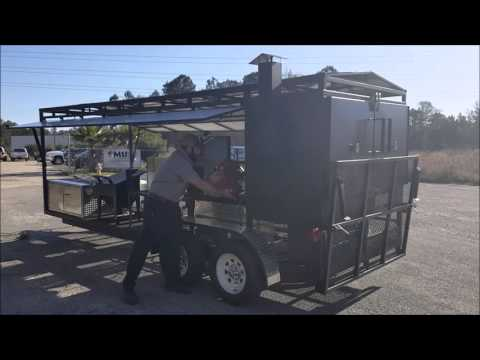 Silver Back Cooker, Smoker, and Grill 21 x 6 Open Concession Trailer