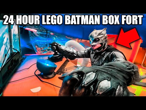 24 HOUR LEGO BATMAN BOX FORT! Working Batwing, Batcave & More!