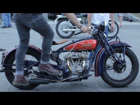 Motorcycle Kick Start Demonstration: 1931 Indian Scout 101