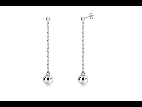 jewelry-–-925-silver-hanging-earrings---glossy-balls-and-spiral-chain