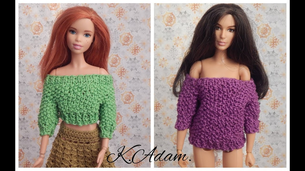 одежда для кукол спицами свитер с открытыми плечами Youtube