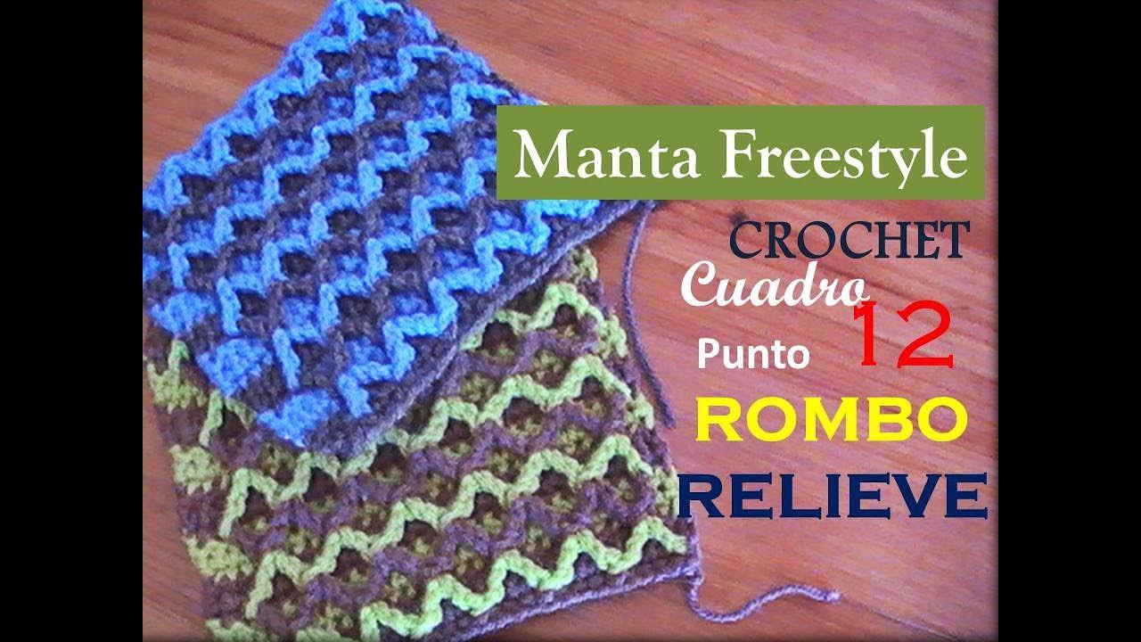 Manta a crochet FreeStyle cuadro 12: punto rombo en relieve (diestro ...