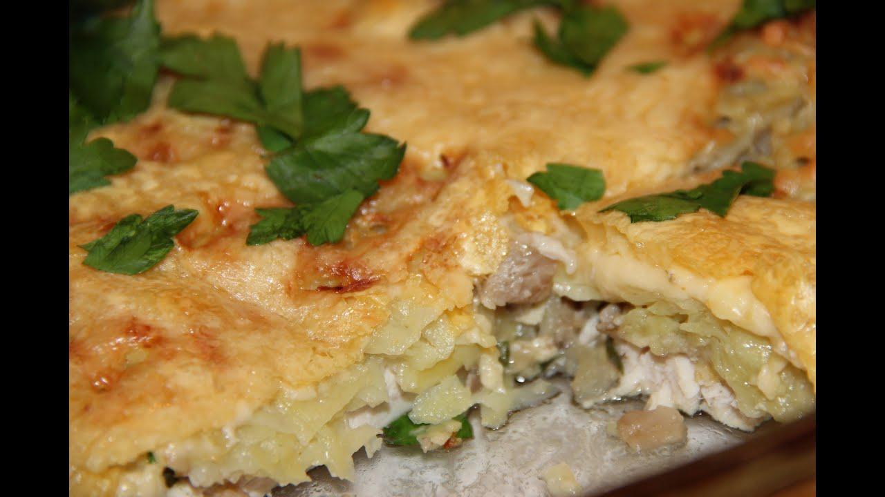 картофельная запеканка с грибами и курицей в духовке рецепт с фото