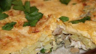 Запеканка из куриного филе с грибами и картофелем