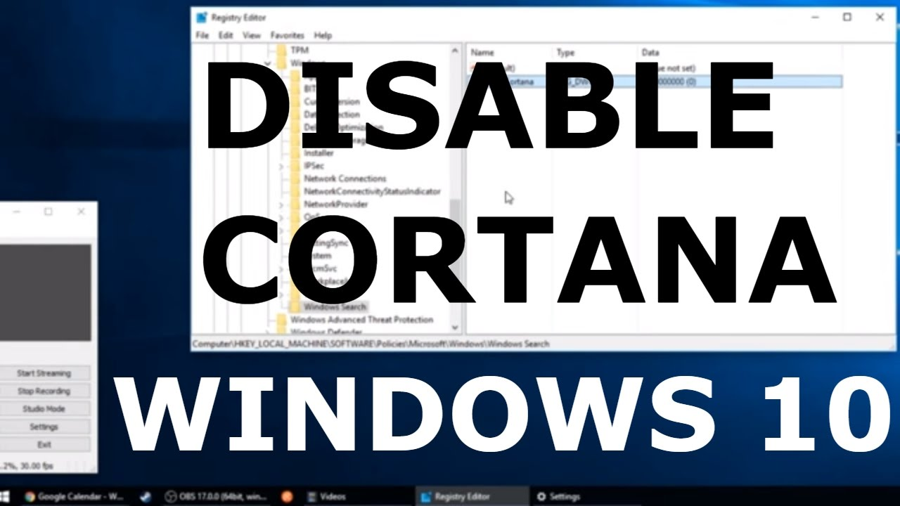 how to disable cortana windows 10 home edition