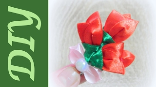 Заколка для волос Тюльпаны канзаши/Hairpin Tulips Kanzashi