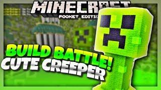 CUTE CREEPER Challenge! - Minecraft PE 1.2 Build Battle Server - (Minecraft PE 1.2)