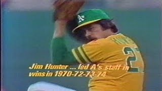 1974 World Series game 3 Los Angeles Dodgers at Oakland Athletics Catfish Hunter PART 1