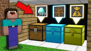 Minecraft NOOB vs PRO: CAN NOOB CHOOSE RIGHT SECRET CHEST TO GET MEGA TREASURE?100% trolling