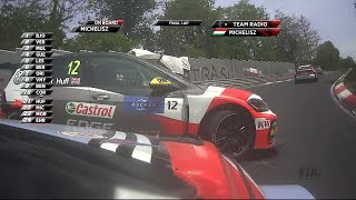 A huge impact as Michelisz tries to fit into an impossible gap.