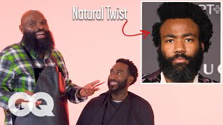 Childish Gambino's Natural Hair with a Part Haircut Recreated by a Master Barber | GQ