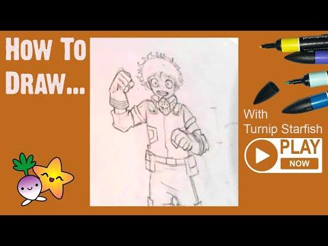 HOW TO DRAW Deku, Full Figure, From My Hero Academia - Turnip Starfish