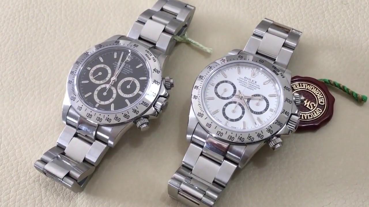 0483981674c Rolex Daytona 16520 white dial serial A vs Rolex Daytona 16520 black dial  Zenith movement