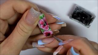 Мастер класс цветочная роспись на ногтях