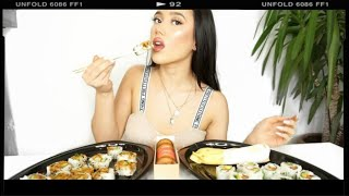SUSHI MUKBANG (EATING SHOW): Eat With Me + Get To Know me!