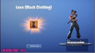 'NEW' LUXE (BLACK CLOTHING) SKIN sur Fortnite Battle Royale Saison 8