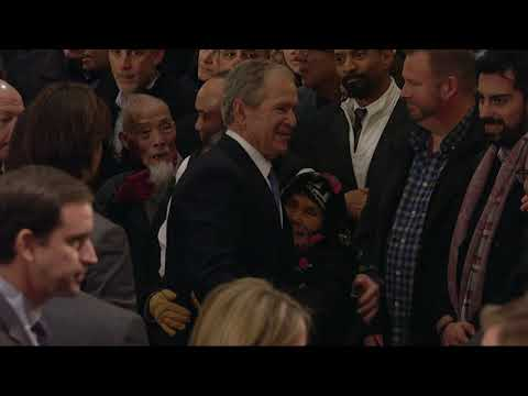 George W. Bush greets mourners at Capitol