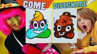 COME DISEGNARE un EMOJI CACCA 💩 con Befana - Disegni bambini - How to draw Emoji Poop Canale Nikita