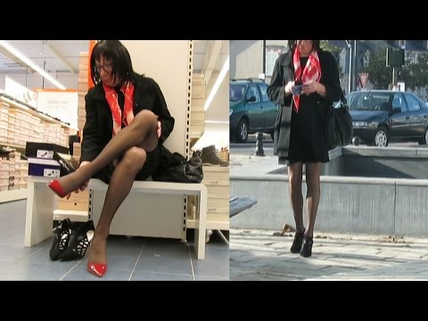 Out in public and high heels shopping - Transvestite - Crossdresser - Tgirl
