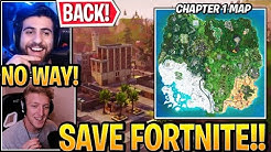 "Streamers React to ""OLD MAP"" *BACK* in Fortnite (Chapter 1 Map RETURNING) Season 3"