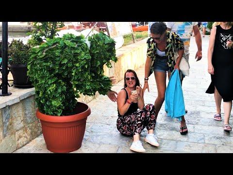 She fell on ground!! Way too funny!! Bushman Prank!